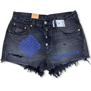 Levi's 501 cutoffs embroidered distressed new